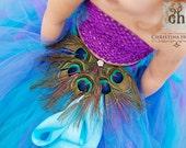 Custom Couture Peacock Fan Pin/ Peacock Costume/ Peacock Photo Prop