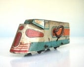 Tin Train Wind-Up Toy - Antique Made in the USA - Lithographed Streamlined Art Deco