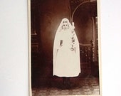 Antique Creepy Cabinet Card Photo - Macabre Photo of Young Woman in a White Dress