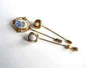 Vintage Stick Pin Collection Set Lot Gold Tone