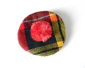 Vintage Beret Coin Purse Change Plaid Hat Red Framed Kiss Lock