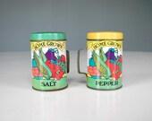 Vintage Tin Salt and Pepper Shaker Home Grown Vegetable Garden