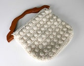 Vintage Knitted Handbag Purse Crochet Cream Wooden