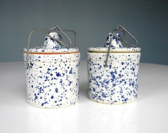 Ceramic Speckled Jars Storage Container with Lids Blue