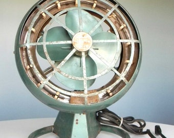 Mid Century Art Deco Industrial Arvin Heater Fan - Blue