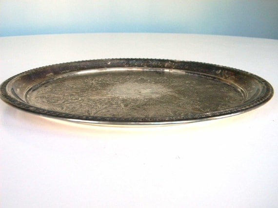 Sheridan Serving Platter Tray Silver Plated Round