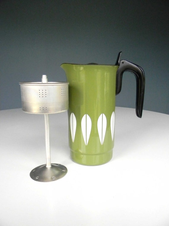Cathrineholm Coffee Pot Percolator Enamelware Pitcher Norway Green Lotus RARE NEVER USED