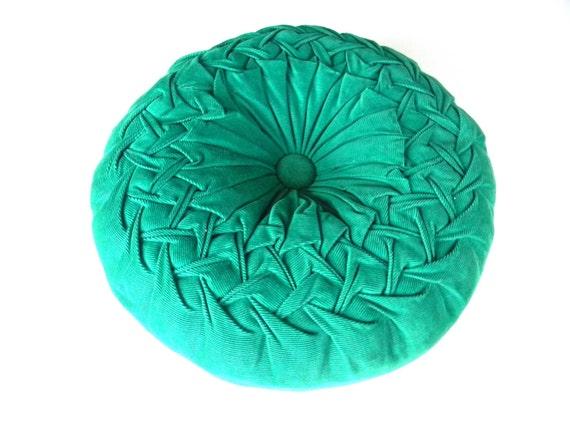 Vintage Pillow Smocked Green Corduroy Round Decorator Throw