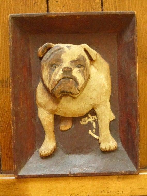 S folk art bull dog bas relief hodgson wood carving