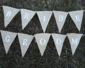 Mini Bunting Burlap Wedding Banners--BRIDE and GROOM