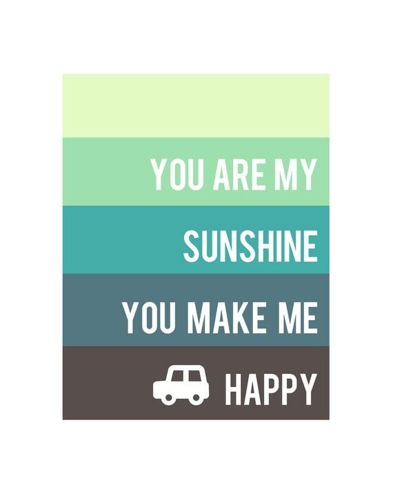You Are My Sunshine (Boy) 8x10 art print - Free Shipping, room & nursery home decor