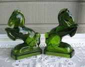 Vintage L. E. Smith Pair Emerald Green Rearing Horse Bookends Circa 1940's