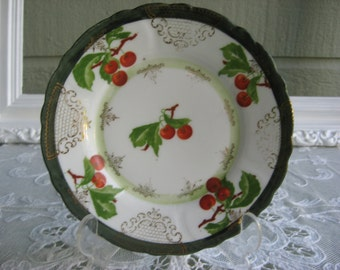 Vintage Porcelain Prussian Plate With Red Cherries And Gold Lace Design Circa 1891