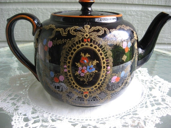 Vintage Gibson & Sons Black Tea Pot with Guilding and Hand Painted Flowers
