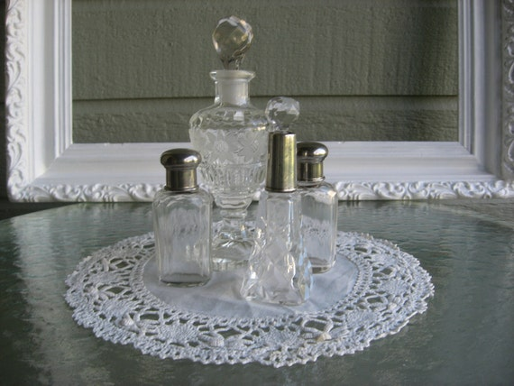 Vintage Pressed And Cut Glass Perfume Bottles One With Sterling Siver Neck With Dabbers Circa 1930's-1950's