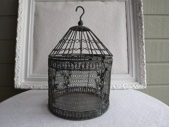 Vintage Metal Bird Cage With Faux Bamboo Motif With Hook Circa 1970