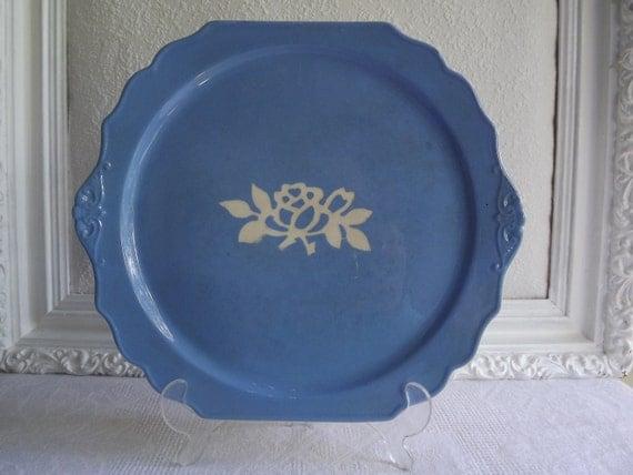 Vintage Harker White Rose Carv-Kraft Cameo Ware Blue Virginia Plate Made for Montgomery Ward Circa 1945