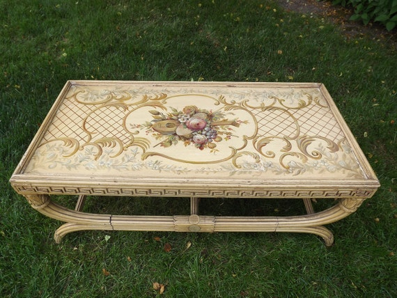 Reserved For Kristine Vintage Retro Hollywood Regency Coffee Table With Hand Painted Italian Motif Circa 1940's