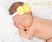Yellow rosette headband, flower headband, newborn headband, child headband, baby headband and photography prop