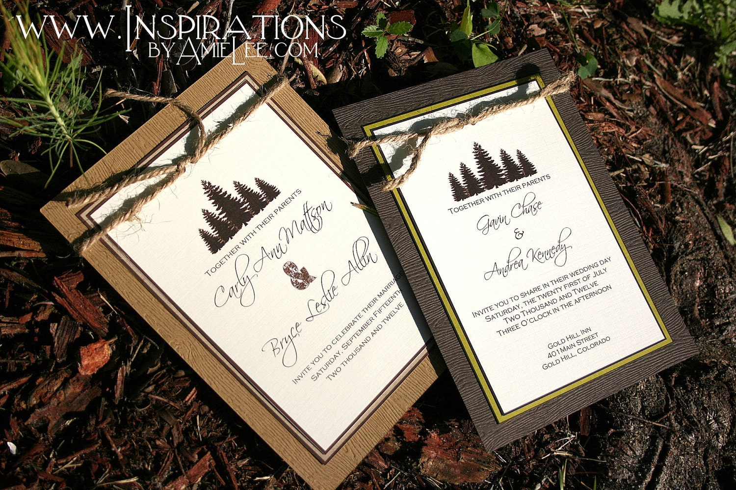 Rustic Wood Wedding Invitations Flip design – OnePaperHeart ...
