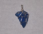 Wire Wrapped Blue Sea Glass Pendant - Breast Cancer Fundraiser
