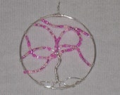 Wire Wrapped Tree of LIfe Pendant with Pink Glass Seed Beads