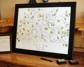 18 x 24 HAND DRAWN Wedding Guestbook Fingerprint Tree, Original Live Oak Design (guestbook drawing with 2 ink pads and pen)