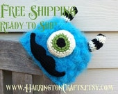 Furry Mustache Monster Hat- Size 6-12 months- Super Soft Yarn- READY to SHIP FREE