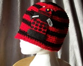Dalek Hat Drone Red Crochet