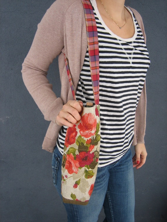 Floral and Plaid Wine Tote