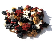 Patriotic Red, White and Blue Heart Buttons and Prim Star Buttons -100 pieces - Americana - July 4th