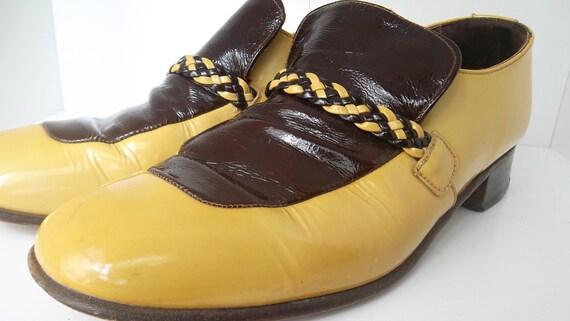 Mens Vintage Patient Leather  Mustard Leisure Shoes braid detail 9