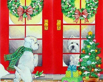 "Westie Christmas Card ""Dropping By"""