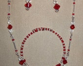 Red, white and Silver jewelry set