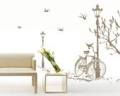 Vinyl Wall Decals with Beautiful Scene - Trees, Lamp and Bicycle with Birds