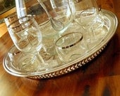 """The """"Platinum Pinstripe"""" Cocktail Set for 8--Snifter-Style Pitcher, 4 Wine Glasses and Roly Polies, Cocktail Spoon & Oneida Silverplate Tray"""