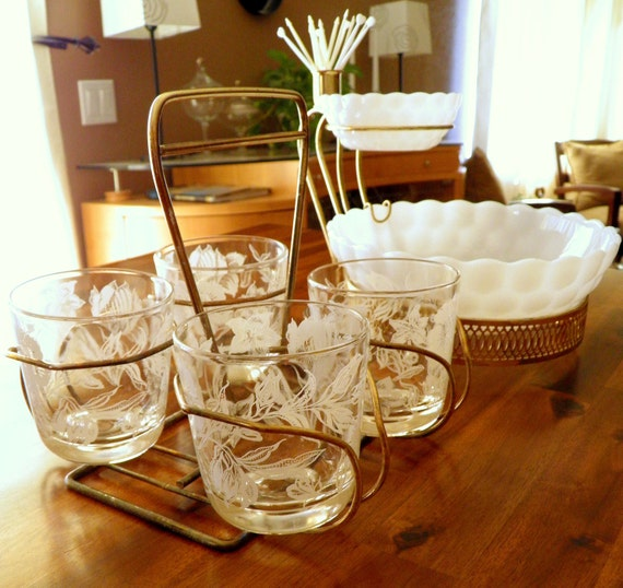 White-and-Brass Shabby Chic Vintage Serving Set--2-Tier Milkglass Server, 4 Coordinating Glasses (w/ Caddy), Heart-and-Arrow Cocktail Spears