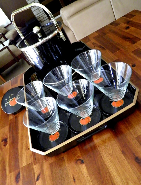"""High-Gloss Black-Lacquer Bar Set-- Stunning Ice Bucket, 6 Otagiri """"Apple"""" Coasters/Case, 6 Swanky Glasses & Huge Lacquerware Serving Tray"""