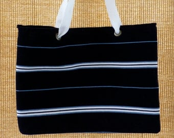 Black striped tote