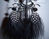 Feather Earrings - Rockabilly Black