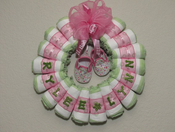 Small Rolled Baby Girl Diaper Wreath