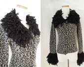 SAKS FIFTH AVENUE nubby salt and pepper cardigan with giant fluffy yarn loop collar and cuffs
