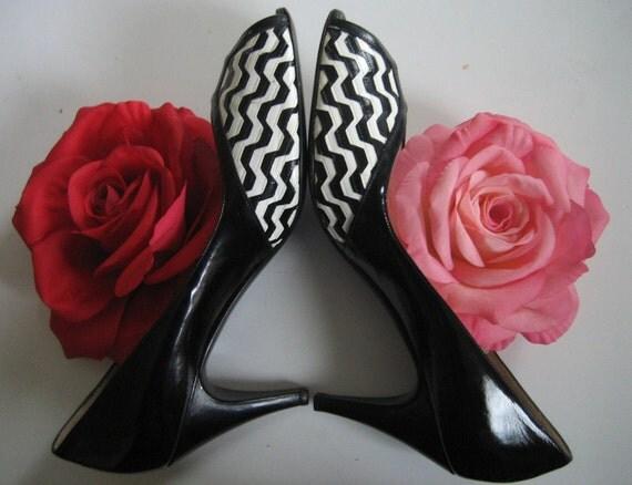 Italian op art shiny peep toe leather high heels by Bruno Magli