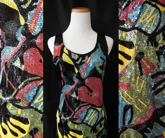 ON HOLD: Incredible 80's fully beaded and sequined abstract pattern dress