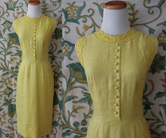 50's Jeanne D'Arc bright yellow wiggle dress with embroidered curls and cute buttons