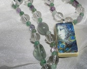 Fluorite Athena Goddess Rosary Necklace with Domino Pendant