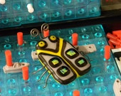 Dexter the Beetle Bug - Fused Glass Wire Insect Sculpture - Yellow Grey Dichroic Entomology - signed by artist - cute business card holder