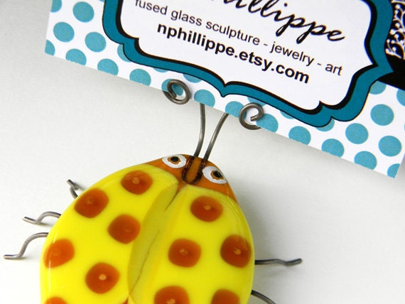 RESERVED - Toffee the Spotted Beetle Bug - Fused Glass & Wire Insect Sculpture - signed by artist - business / place card holder kitch