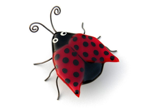 RESERVED - Leslie Ladybug - Fused Glass Insect Bug Sculpture - signed by artist - cute business or place card holder