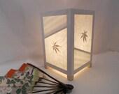 Paper lamp, White and stripe, Table lamp, rice paper lamp, real maple leaves, elegant light,